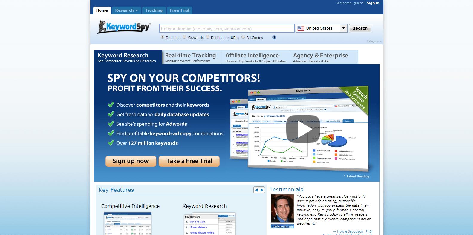 KeywordSpy Competitor Analysis Tools