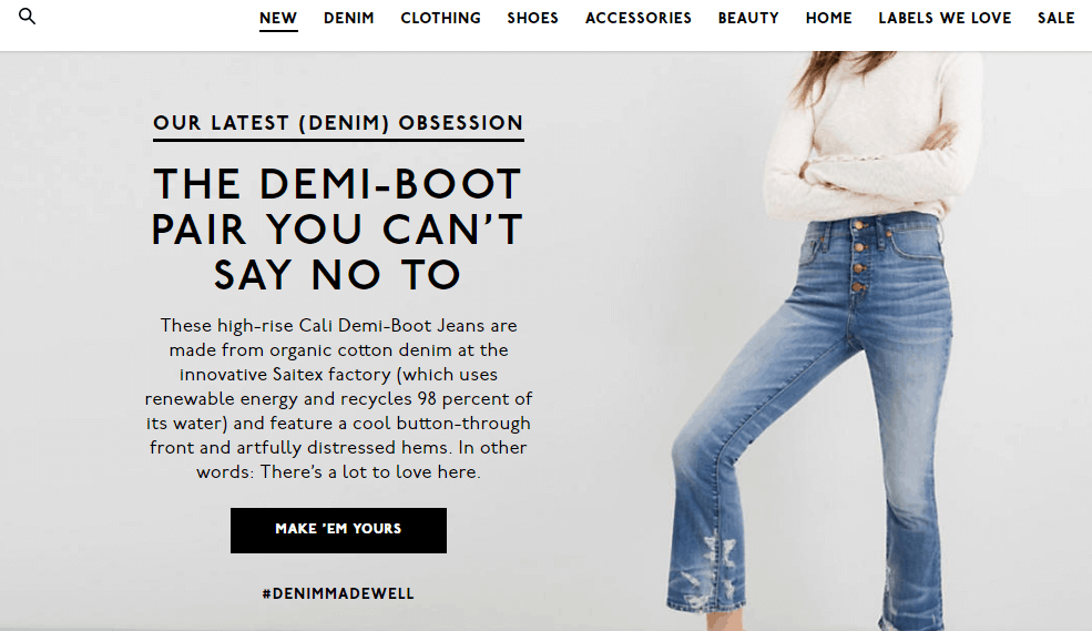 Madewell call-to-action