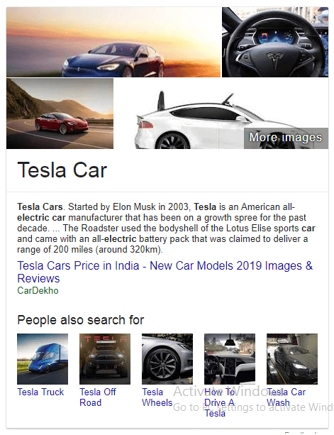 Tesla car Knowledge Graph