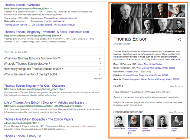 Thomas Edison Knowledge Graph