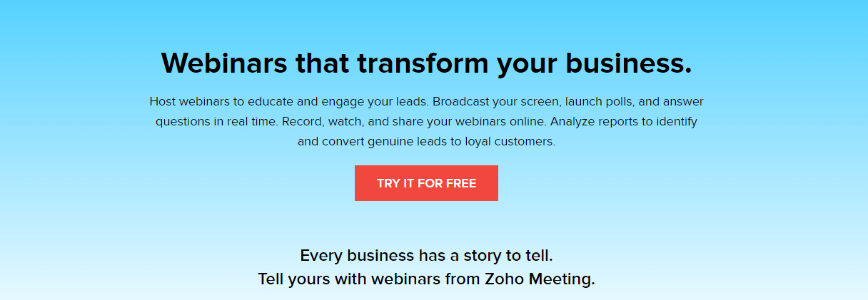 Zoho Meeting Webinar Hosting Website
