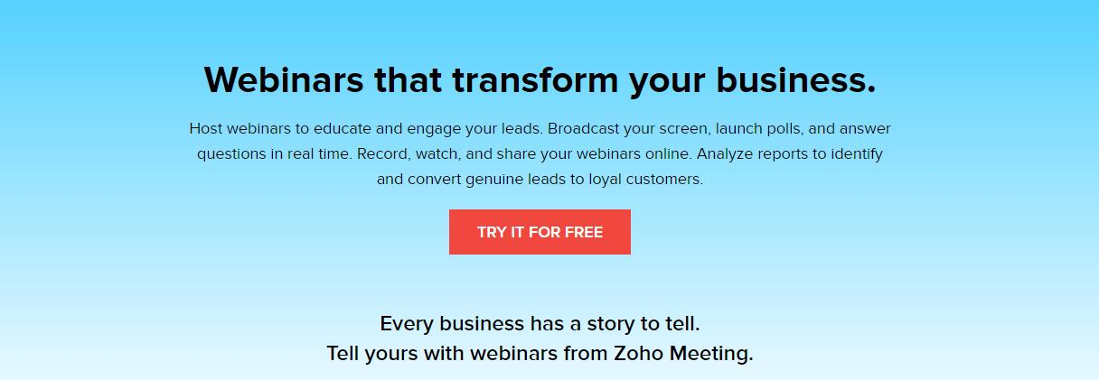 Zoho Meeting Webinar Hosting Website