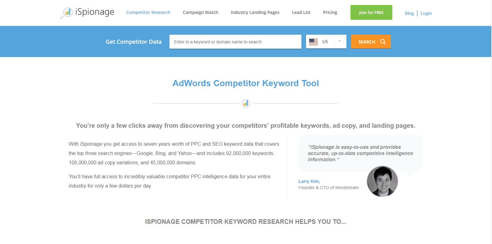 iSpionage Competitor Analysis Tools