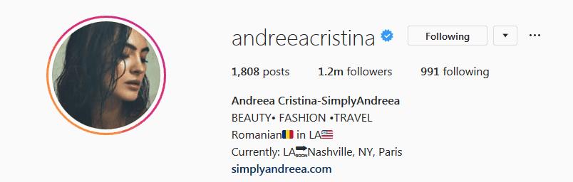 Andreea Cristina instagram Brand Influencer
