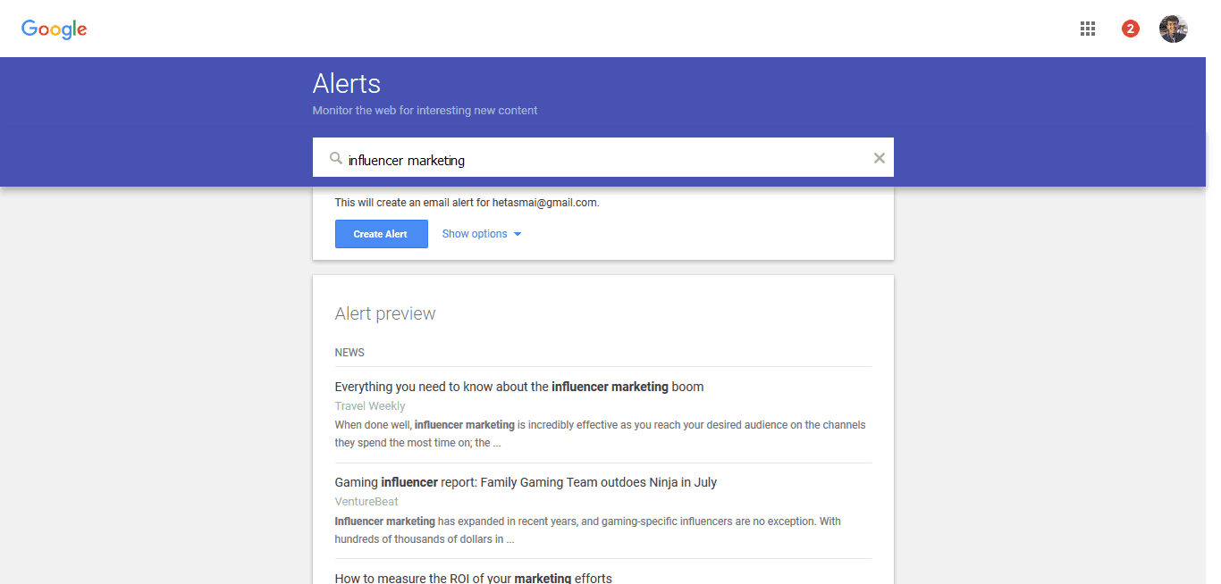 Google Alerts Brand Influencer