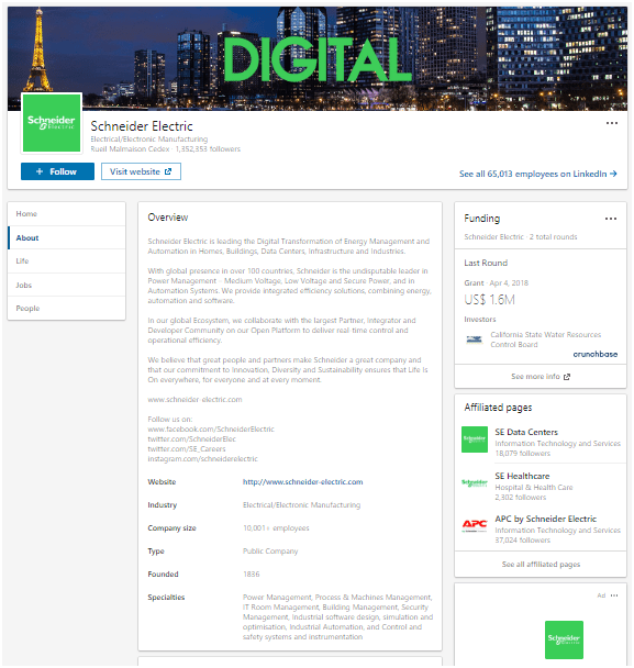 LinkedIn Company Page of Schneider Electric Marketing Strategy