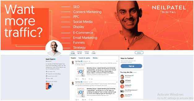 Neil Patel twitter's How To Become An Influencer