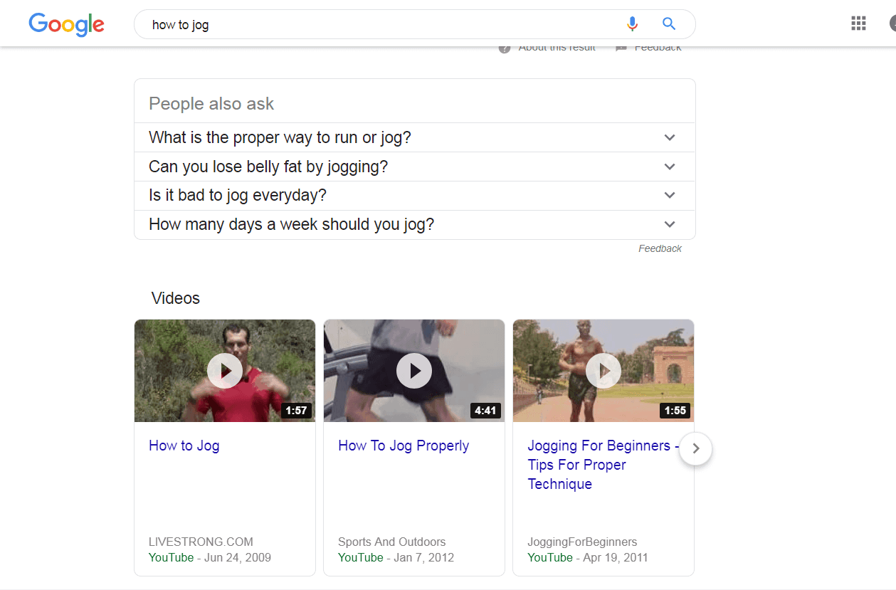 google search how to jog Video SEO