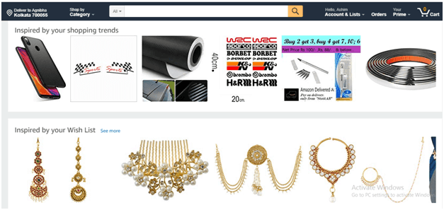 Amazon website personalization