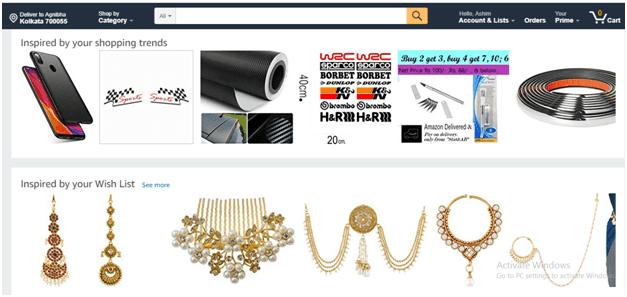 Amazon website personalization