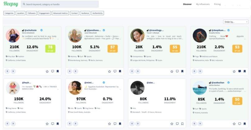 Heepsy Influencer Marketing Tool