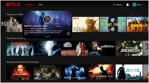 Netflix website personalization