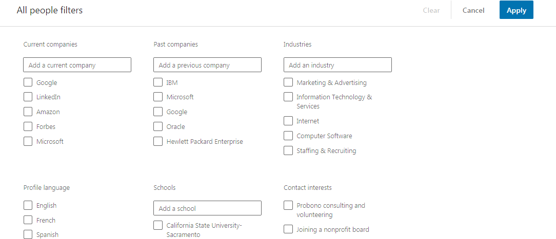 Search for Connections on LinkedIn