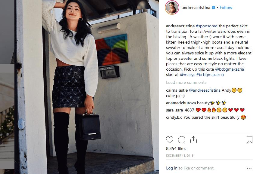 Andrea Christina instagram fashion influencer marketing