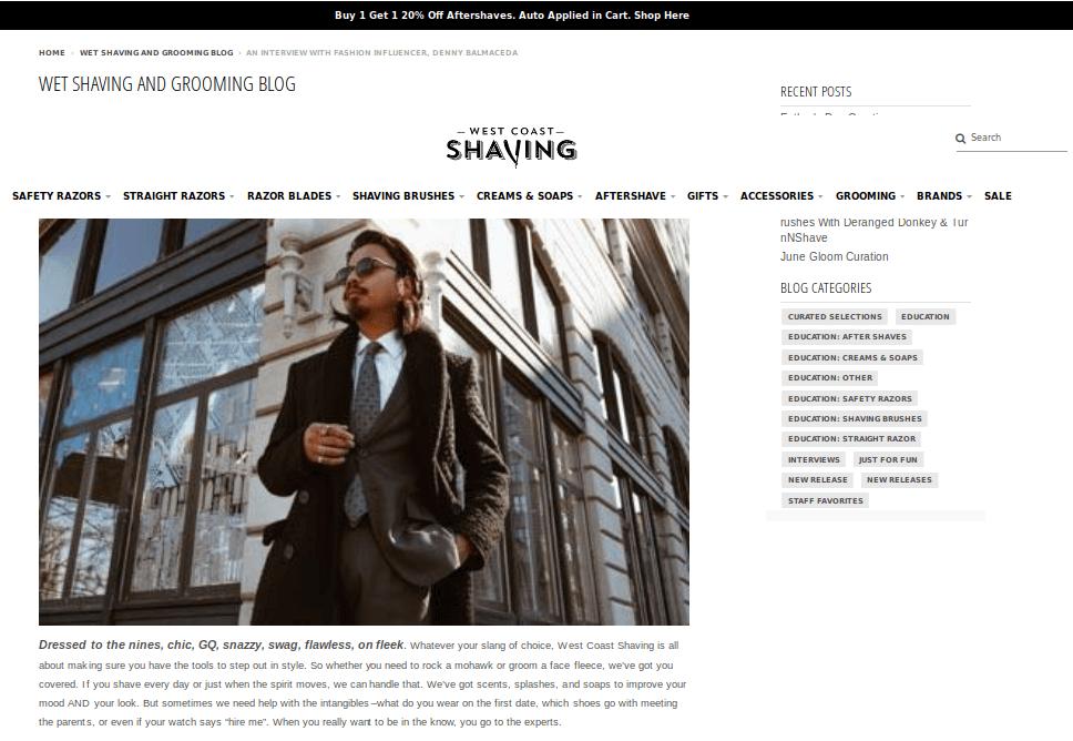 West Coast Shaving fashion influencer marketing