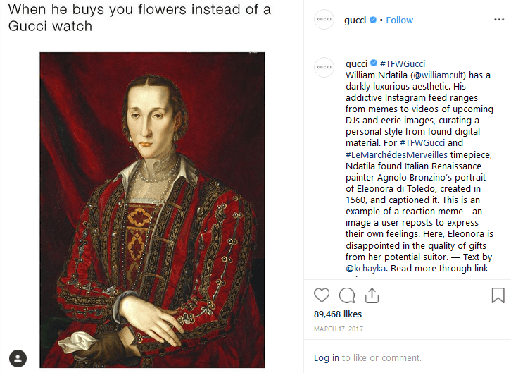 Gucci Instagram Marketing with Memes