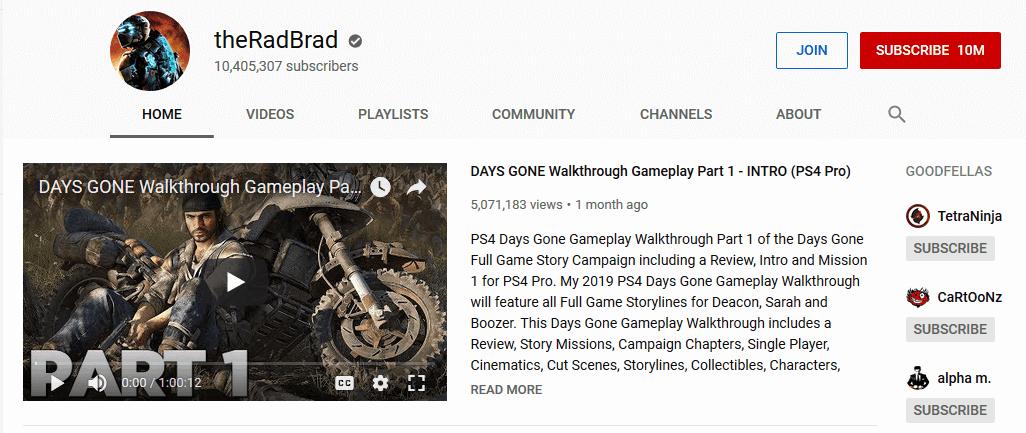 TheRadBrad Gaming Influencers