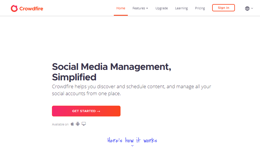 Crowdfire Social Media Management Tools