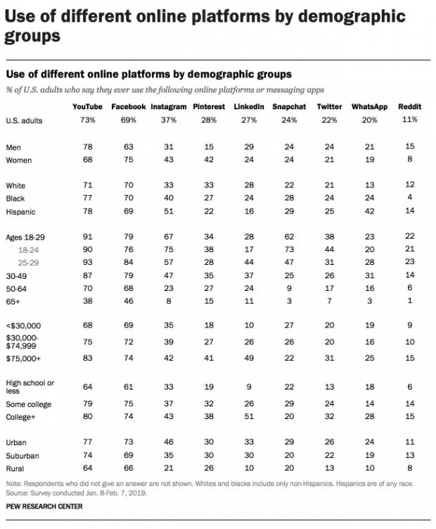 Online Platforms by demographics Social Media Business