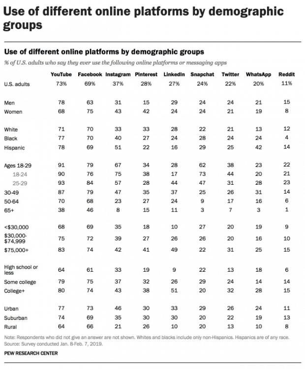 Online Platforms by demographics Social Media Business