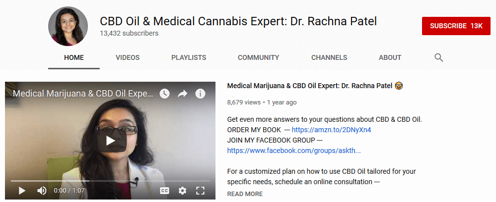 Rachna Patel Youtube Cannabis influencers