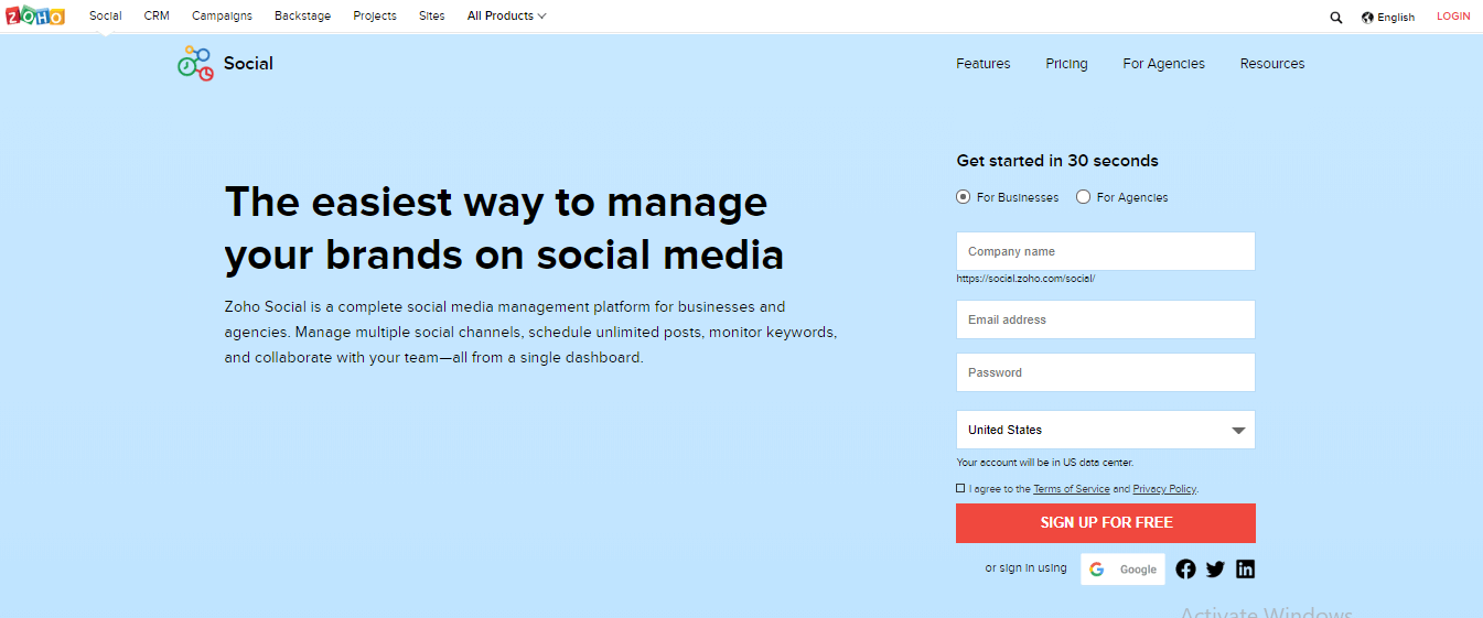 Zoho Social Social Media Management Tools