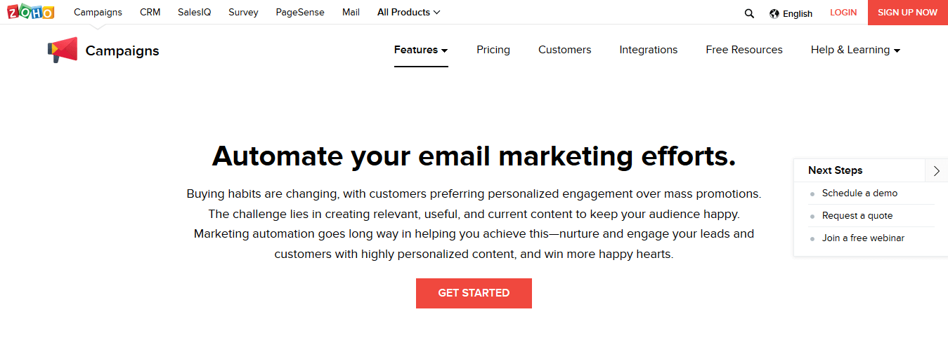 Zoho Campaigns Email Marketing Automation