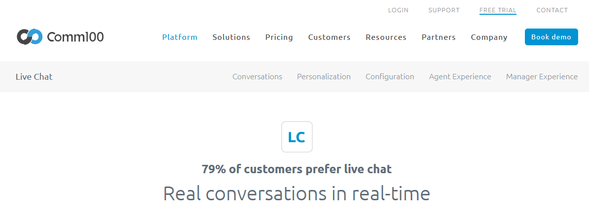 Comm100 best live chat software