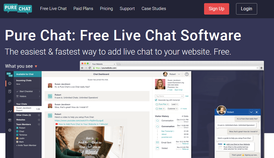 PureChat live chat software for website