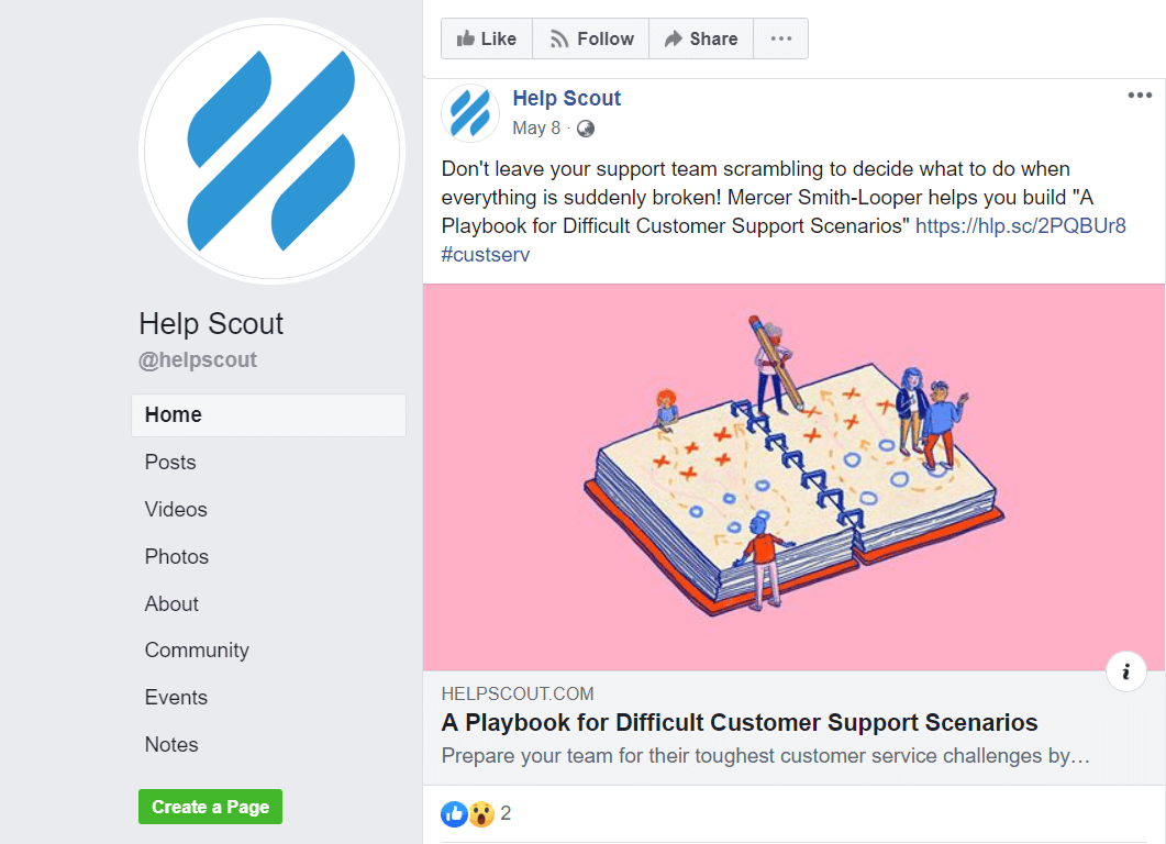 Help Scout facebook visual content strategy
