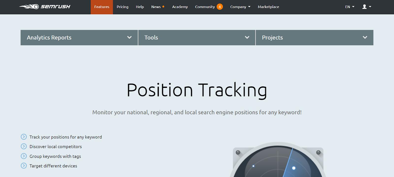 SEMrush Rank Tracker Tools