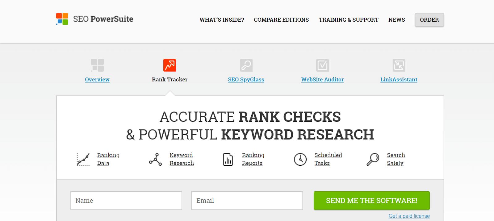 SEO PowerSuite Rank Tracker Tools
