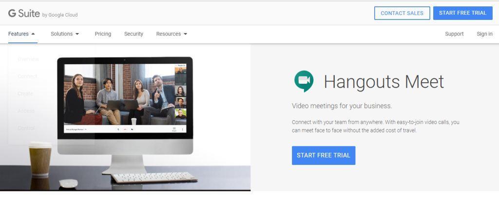 Google Hangouts Meet Web Conferencing Tool