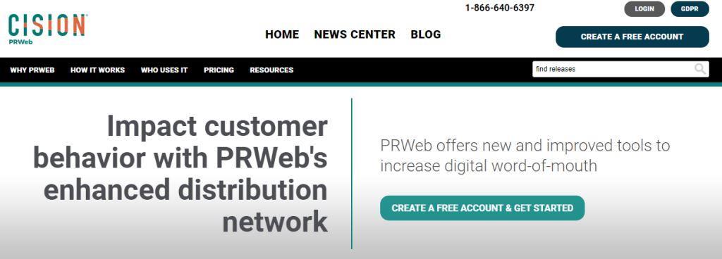 PRWeb Online PR Tool