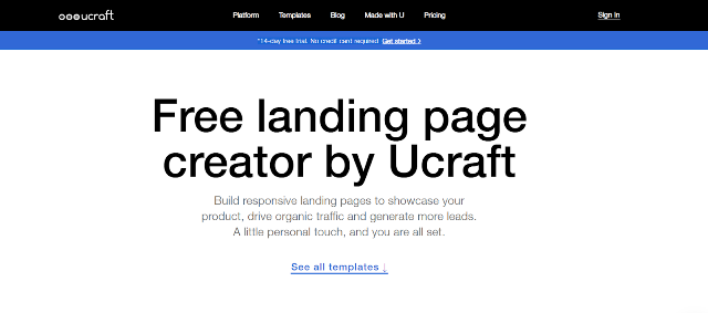 Ucraft Best Landing Page Builders
