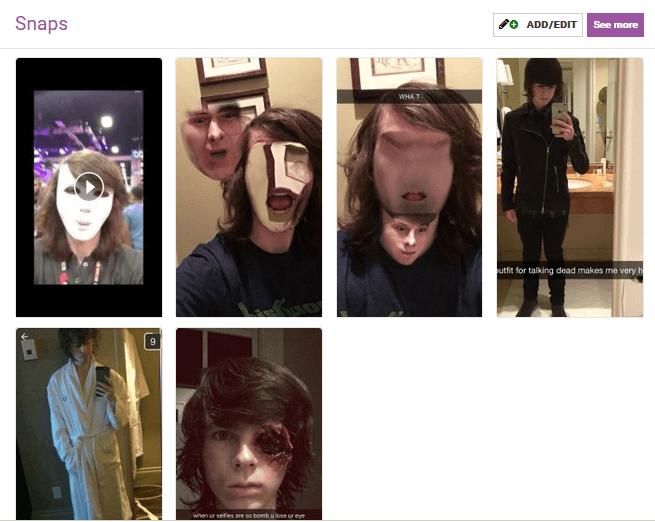 Chandler Riggs Snapchat Influencer