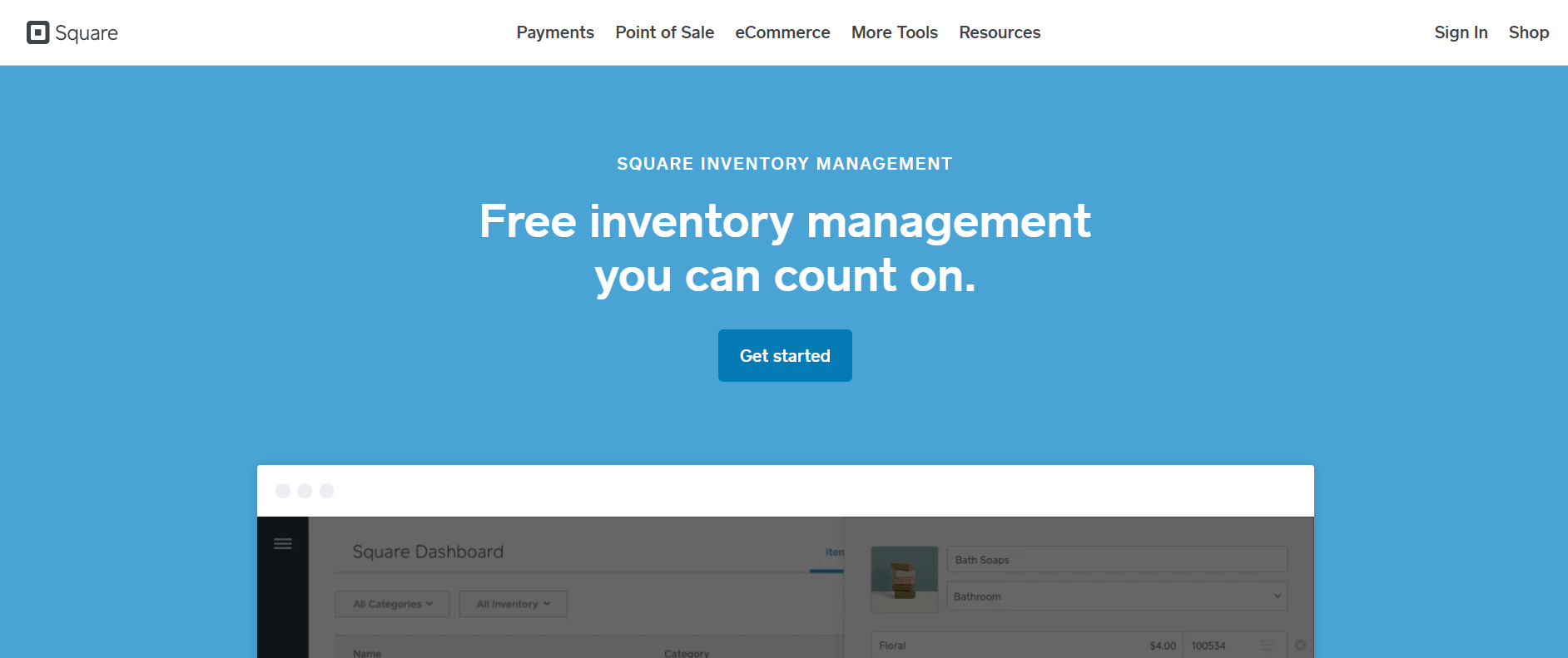 Square inventory management software