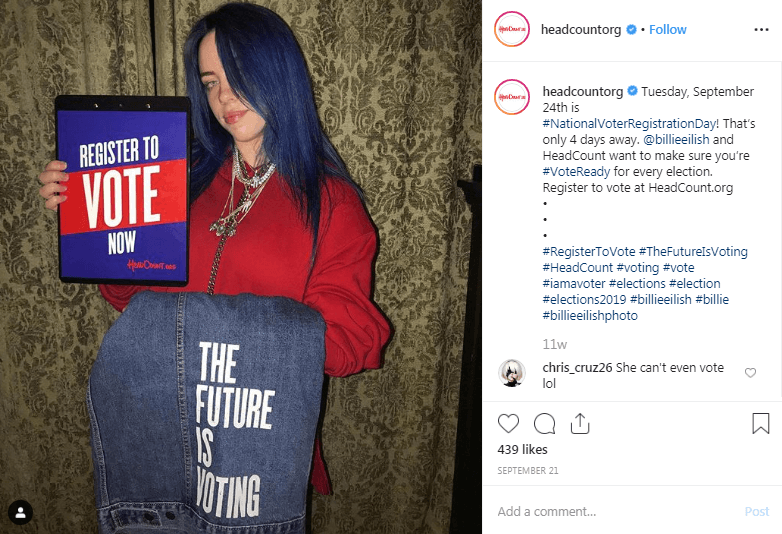 TheFutureIsVoting Campaign by HeadCount Influencer Marketing Campaigns