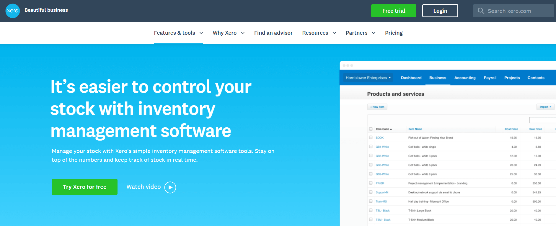 xero inventory management software