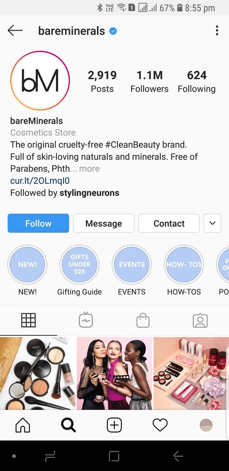 Bare Minerals instagram Highlight Covers
