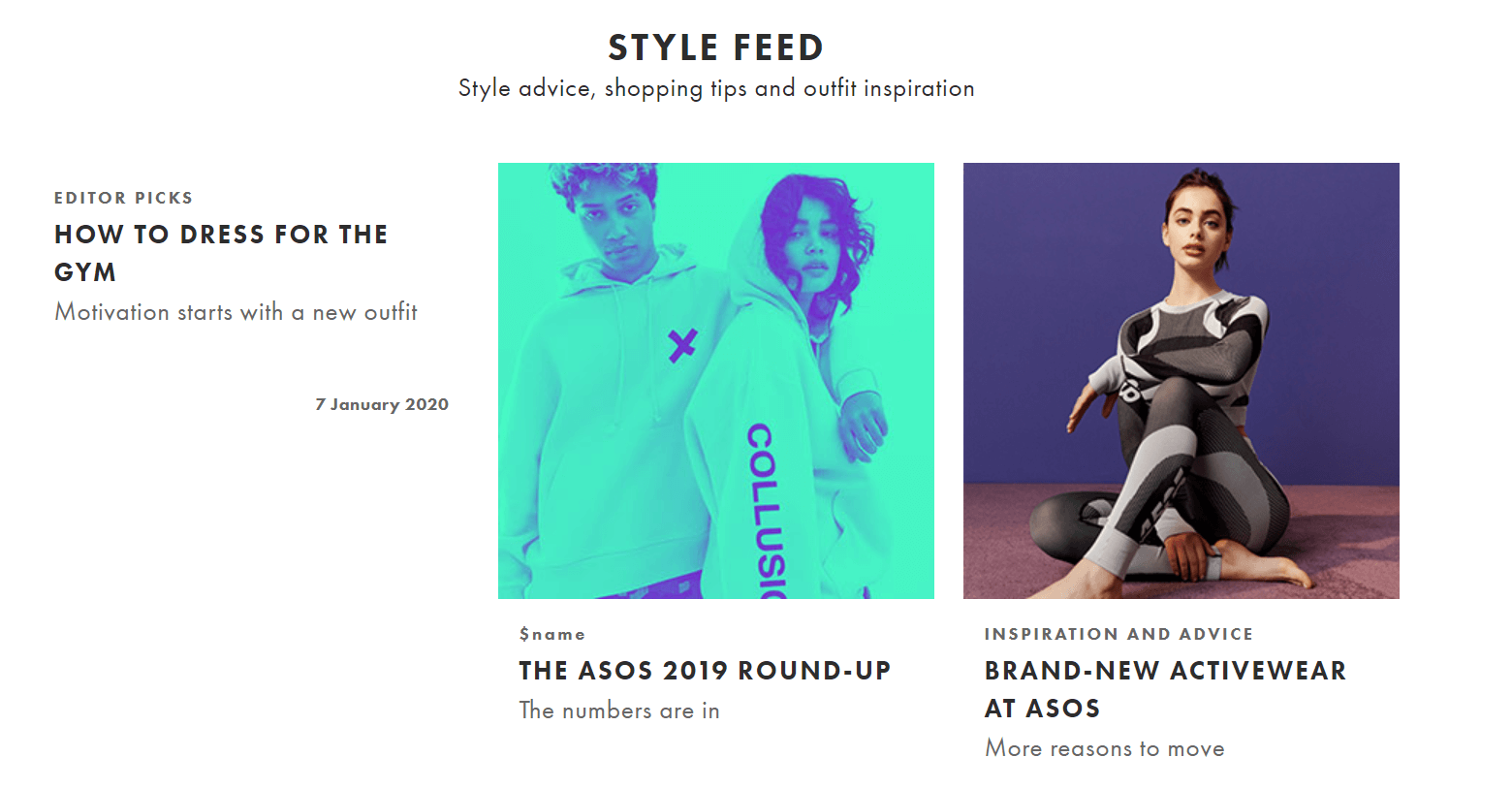ASOS Ecommerce Content Marketing Examples