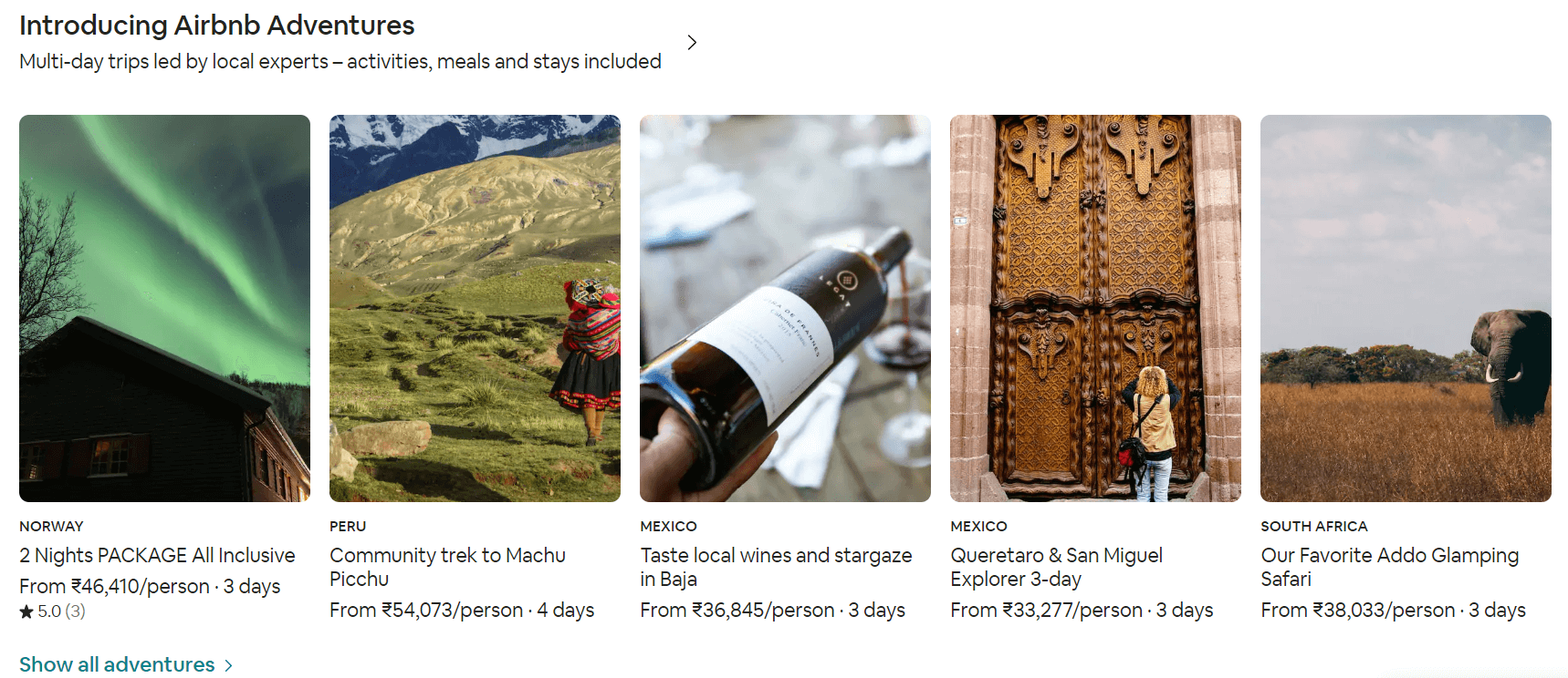Airbnb Adventures Ecommerce Content Marketing Examples