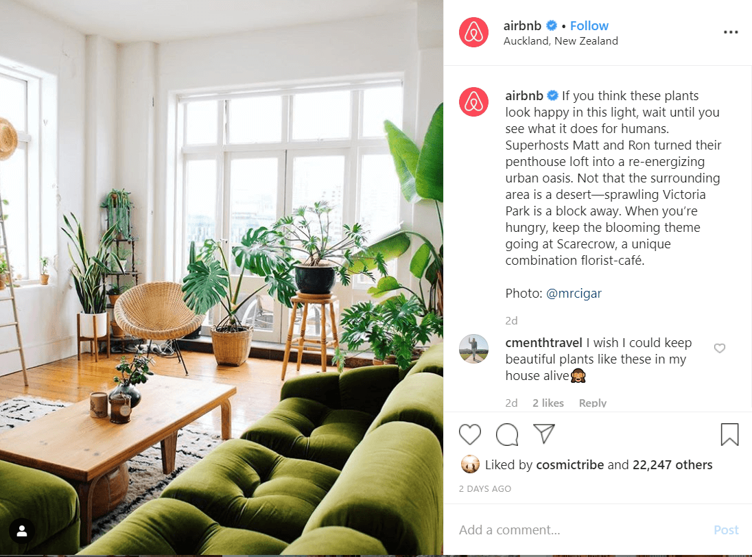 Airbnb Instagram Ecommerce Content Marketing Examples