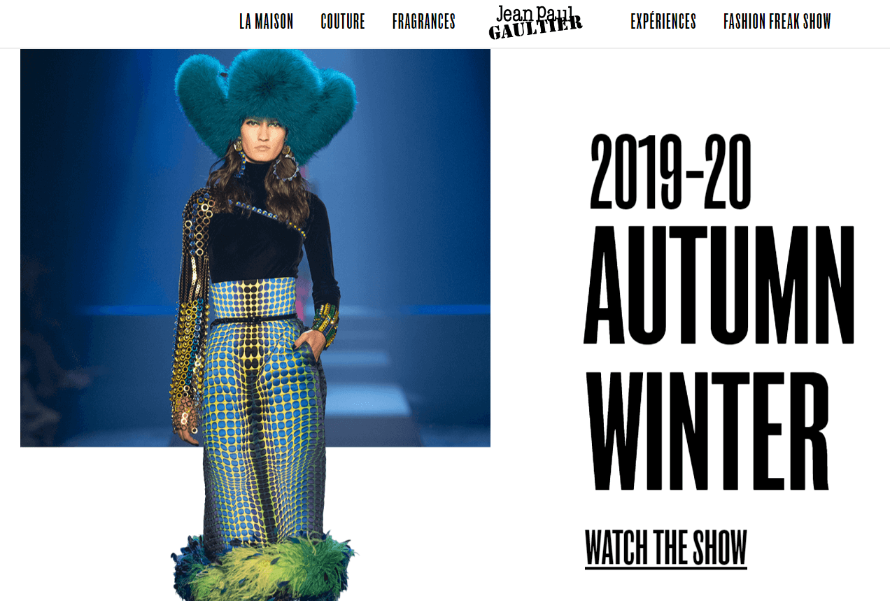 Jean Paul Gaultier Ecommerce Content Marketing Examples