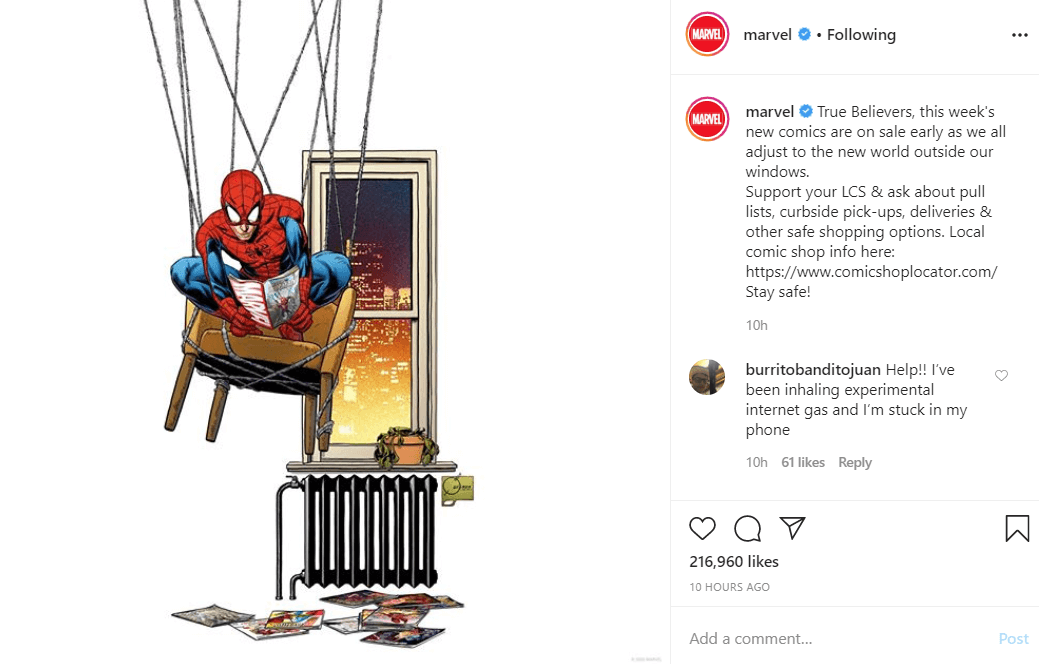 Marvel instagram CORONAVIRUS MARKETING