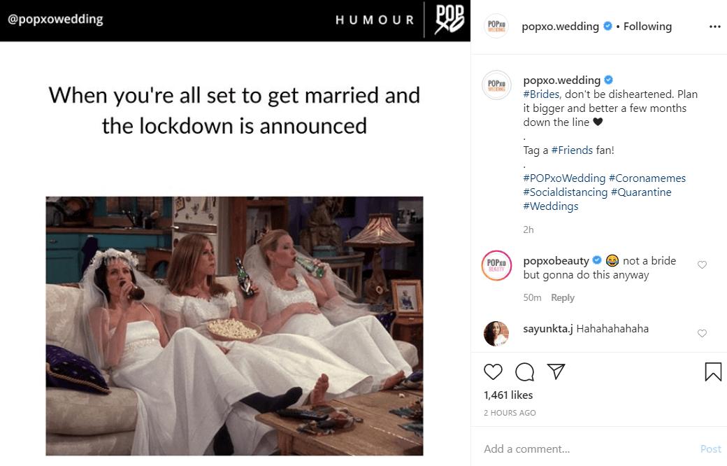 POPxo instagram CORONAVIRUS MARKETING