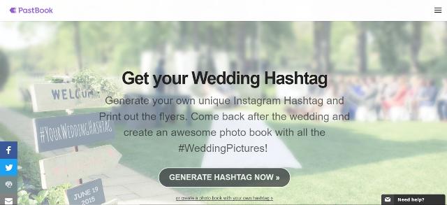 PastBook Wedding Hashtag Generator