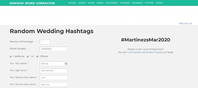 Random Word Generator Wedding Hashtag Generator