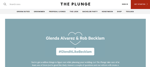 The Plunge wedding Hashtag Generator