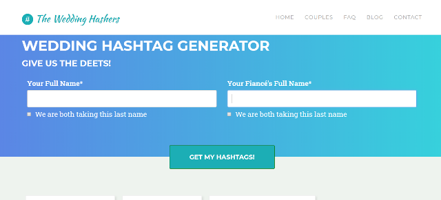 The Wedding Hashers Wedding Hashtag Generator